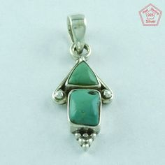 Antique Design _ 925 Real Sterling Silver Turquoise Pendant Jewelry P3333  | eBay