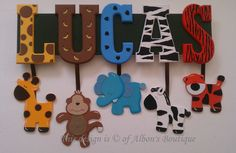 6 carta nombre Custom selva Zoo Safari Themed por AlbonsBoutique