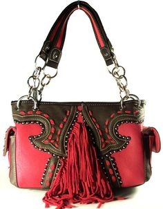 Concealed Carry Western Style Gun Purse w/ Fringe CCW Handbag Montana West - Red $74.99 + Free Shipping! wantedwardrobe.com wantedwardrobe.net #CCW #fashion #handbags