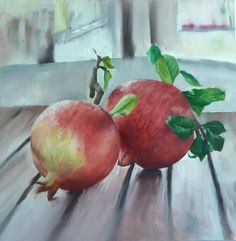 FineArtSeen - Two pomegranates by Toula Pafitis. This stunning photorealist painting of pomegranates is full of colour and comes from the collection on FineArtSeen. Click to view more art at great prices from the Home Of Original Art. << Pin For Later >>