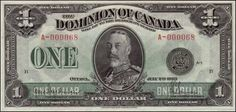 Dominion of Canada one dollar banknote, King George V. One dollar bill, Dominion of Canada Dominion of Canada currency 1 dolla. Old Coins, Rare Coins, Canadian Coins, Canadian People, Canadian History, 100 Dollar Bill, Federal Reserve Note, Money Notes, Legal Tender