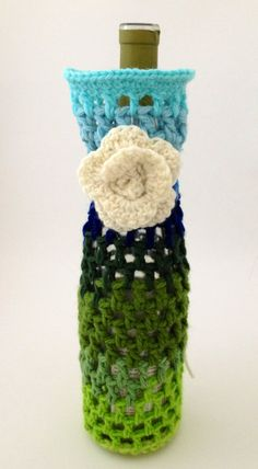 Blue and Green Crochet Wine Bottle Cozy Gift Bag with by Parachet
