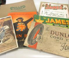 Sale D101215 Lot 250  Vintage cycling and parts catalogues, price lists, including Hercules BSA (1913), James 1913 and 1914, Miller Lamps (1929), Runwell list 1927, Phillips (1958), Hobdays (1958-59), Romac 1958, Dunlop Tyres - Cheffins
