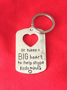 "Super cute Teacher Gift Idea. Teacher appreciation gift idea. Valentines Day Teacher Gift. Christmas Gift Teacher. These measure 2"" plus the key ring. It will come in a white organza gift bag."