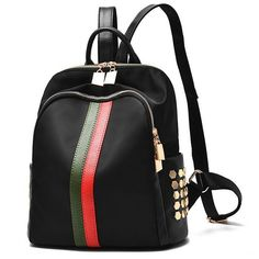 Cheap Black Frosted Oxford Cloth Rivet Bag PU Unique Green Red Vertical Stripes School Backpack For Big Sale! Stylish Backpacks, Cute Backpacks, Girl Backpacks, School Backpacks, Lace Backpack, Leather Backpack, Fashion Bags, Fashion Backpack, Gucci Fashion