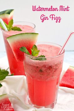 Your favorite gin comes together perfectly with fresh watermelon, sweet mint, & some bubbly club soda to make this simple & refreshing Watermelon Mint Gin Fizz.