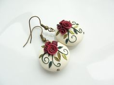 Shabby chic red rose earrings handmade from polymer by fizzyclaret, $16.00