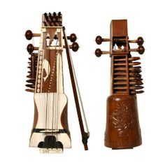 """Sarangi, with Carving by Mid-East Manufacturing. $486.75. The Sarangi is the chief bowed instrument in the classical music of North India. It is composed of one piece of wood and features a goat skin sound table and no frets. 25"""" long, 3 main strings overlay sympathetic strings that resonate over a natural skin soundboard. Includes bow and case.  * Brand New!. Save 39%!"""