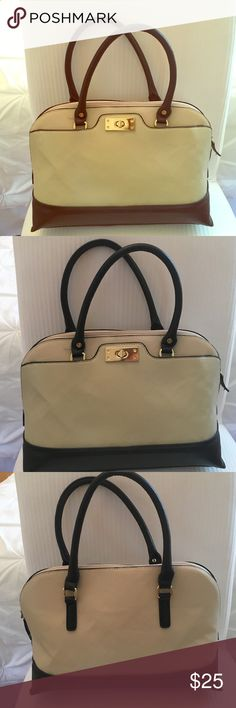 f5b86350c8 Cream and black hand bag Cream and black handbag. Faux leather with gold  detailing. Removable long strap (not pictured) Kelly & Katie Bags Shoulder  Bags