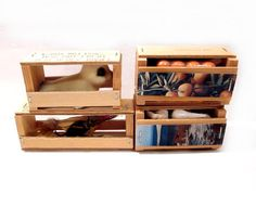 Vintage Souvenir Wood Crates Novelty Figurines
