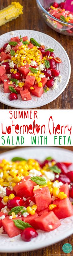 This summer watermelon cherry salad with Feta is great for picnics, summer parties, barbecue or lunch! It's refreshing, light and most importantly delicious recipe! Ready in 15 minutes! | happyfoodstube.com