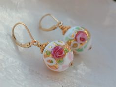 White Wedding Cake Venetian Murano Lever Back Earrings by leeski