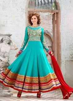 Mystic Turquoise Pure Georgette Embroidery Work  Anarkali Salwar Suit http://www.angelnx.com/Salwar-Kameez/Anarkali-Suits