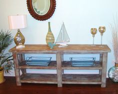 Rustic Distressed Console Table. $650.00, via Etsy.  Behind the sofa.