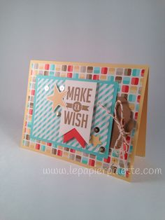 Birthday card with pull out tag, Stampin Up Cycle Celebration and Perfect Pennants stamp sets, retro fresh DSP, scallop tag topper punch, gold sequins.