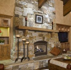 Pearl Mantels Rustic Cast Stone Fireplace Mantel Shelf in Leather Finish - Modern Design Stone Fireplace Designs, Stone Fireplace Mantel, Cabin Fireplace, Rock Fireplaces, Rustic Fireplaces, Farmhouse Fireplace, Fireplace Remodel, Fireplace Surrounds, Fireplace Ideas