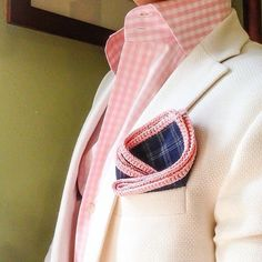 Pink Gingham, Cream Blazer, Crochet Handkerchief / Pocket Square