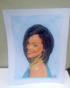 """ORIGINAL HAND PAINTED Portrait of """" Rihanna """"  Free shipping Signed"""