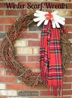 Winter scarf wreath via Sally @ Drinking From My Saucer