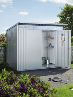 The Biohort AvantGarde Large metal shed with double door offers a modern looking practical storage area for your outdoor space. Single Doors, Double Doors, Tool Hangers, Metal Shed, Buy Metal, Lean To, Outdoor Sheds, Garden Buildings, Shed Plans