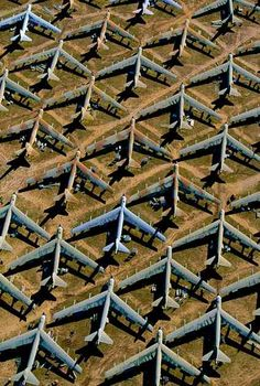 Aircraft Graveyard --- B-52 at Davis-Monthan Air Force Base near Tucson, Arizona, United States (N 32°11' W 110°53') Hundreds of B52 Stratofortress bombers are stored at Davis–Monthan Air Force Base in the Arizona desert. These planes, whose flying days are probably over, are nevertheless preserved for spare | http://funnycommercialadsphotos.blogspot.com