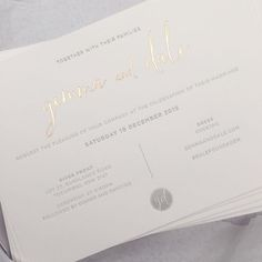Soft grey letterpress and rose gold foil