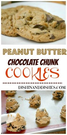 Peanutty Chocolate Chunk Cookies - soft chewey cookies with big chunks of chocolate! #comfortfoodfest #foodnetwork #peanutbutter #cookies