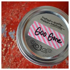 DIY Goo Gone Remover Recipe. I am curious about this. I can't use store bought Goo Gone because of the harsh chemical smell.I am excited if this homemade cleaning idea works! Homemade Cleaning Supplies, Household Cleaning Tips, Cleaning Recipes, Cleaning Hacks, Household Products, Homemade Products, Cleaning Checklist, Diy Cleaners, Cleaners Homemade