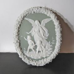 Vintage Shafer & Vater Green Jasperware Angel Wall by Hallingtons