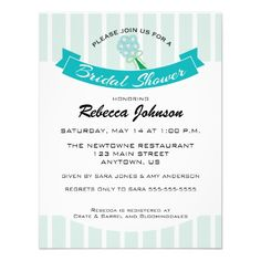 Bridal Shower Customizable Invitation with mint green vertical stripes and a teal blue banner.