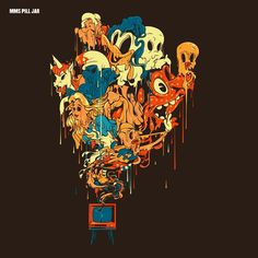 Pill Jar (album cover art) Rogerio Puhl 2013 - Q: Who are these characters? Art And Illustration, Illustrations, Art Inspo, Kunst Inspo, Art Pop, Psychedelic Art, Art Hippie, Acid Art, Dope Art