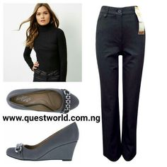 Turtleneck top size 10 12 #4000 M&S Grey Straight Leg Trousers size 10 14 20 22 #5500 chain wedge Dexters comfort size 6/39 #9000 www.questworld.com.ng