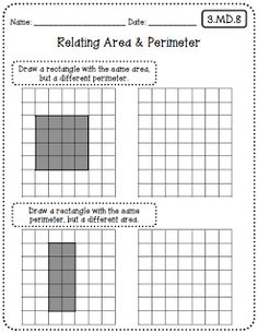 Common Core Worksheets Grade Edition) to pair with Interactive Math Notebooks from Create●Teach●Share Area Worksheets, Maths Area, Area And Perimeter, Math Measurement, Fourth Grade Math, Math Classroom, Classroom Ideas, Math Notebooks, Common Core Math