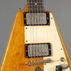 1958 Gibson Flying V. A holy grail golden-era Gibson with a near-mythical status! The radical design of the korina Flying V, created in was far ahead of Gibson Flying V, Les Paul Standard, Gibson Guitars, Guitar Design, Gibson Les Paul, Emerald City