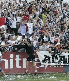 Celebración del ascenso tras gol del del FC Cartagena, Alcoy, 2009