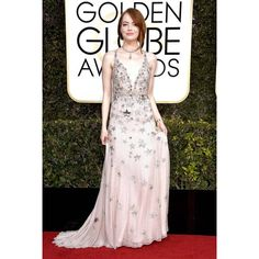 Emma Stone Golden Globes 2017 Red Carpet Fashion What the Stars Wore ❤ liked on Polyvore featuring emma stone