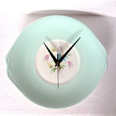 Kitchen Plate Clock Pastel Duckegg Blue by LaviniasTeaParty $42