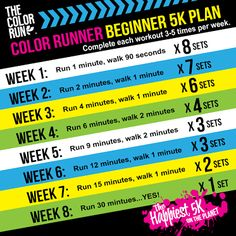 The Color Run prep workout..in case I want to run. Who am I kidding, I'm not running LOL