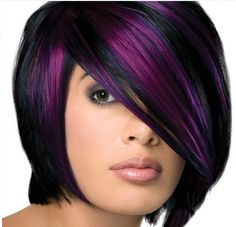 Black and purple hair The 30 Hottest Short Hair Color Trends for 2013 [Photo Gallery] Short Hair Cuts, Short Hair Styles, Natural Hair Styles, Pixie Cuts, Pretty Hairstyles, Bob Hairstyles, Black Hairstyles, Highlighted Hairstyles, Bob Haircuts