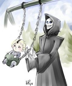 """twin-city-ankh-and-morpork: """"(x) Death and Susan by amianna on DA """"He built me a swing, Susan remembered. She sat and stared at the thing. It was quite complicated. In so far as the thinking behind it. Discworld Characters, Discworld Books, Terry Pratchett Death, Terry Pratchett Discworld, Grim Reaper, Fantasy Art, Elephant, Geek Stuff, Fan Art"""