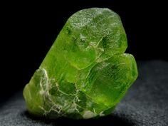 Peridot single crystal, Sapat Gali, Manshera, Naran-Kagan Valley, Pakistan.  Size 31 x 20 x 12 mm. Collection/Copyright: pegmatite