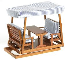 Dollhouse Miniature 1:12 Scale Double Glider with Table and Canopy, Pecan #T7214 #TownSquareMiniatures