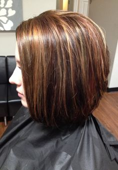 Hair color, lowlights and highlights, cut stacked in the back.