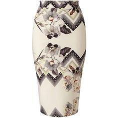 Miss Selfridge Nude Floral Print Pencil Skirt