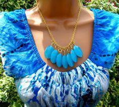 Aqua Turquoise Blue Chalcedony Bib Necklace.