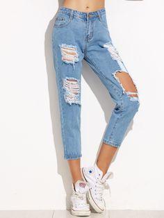 2103 mejores imágenes de Ripped Jeans en 2019  6eea36bcc1a6