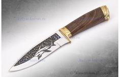 """Туристический нож """"Акула 2"""" - Художественное оформление, латунь"""