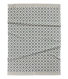Naturweiss Graublau Webteppich Aus Baumwolle Mit Musterdruck Auf Der Oberseite