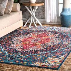 "nuLOOM Vintage Chic Blossom Tiles Blue Area Rug (5'3'' x 7'7'') - 5'3"" x 7'7"""