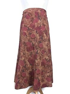 a5dc1e5130 M&S Orange Pink Floral Cord Aline Flared Panel Midi Winter Skirt Plus Size  20 #fashion
